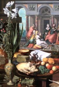 """illustration - Pieter Aertsen """"Jésus chez Marthe et Marie"""" 1553 (extrait)"""