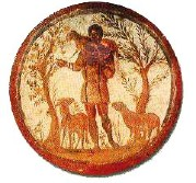 illustration - un berger porte une brebis et fait paître d'autres