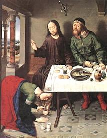 illustration - extrait de Le Christ dans la maison de Simon; BOUTS, Dieric ; 1440s huile sur bois; Staatliche Museen, Berlin
