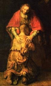 illustration - Le fils prodigue accueilli par le père (Luc 15), peinture célèbre de Rembrandt